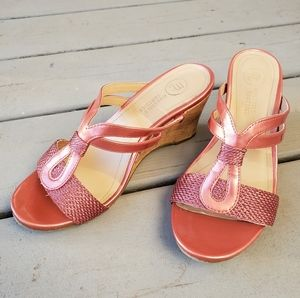 Pearly Pink Cork Wedge Sandals